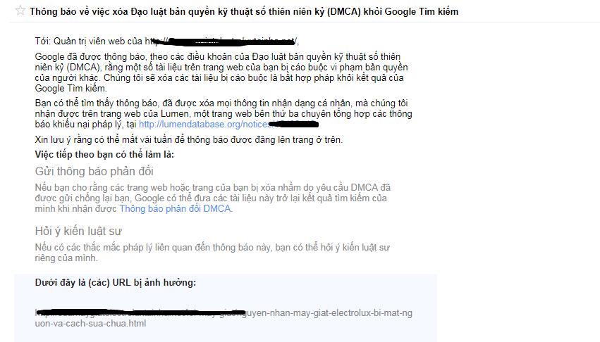Google thông báo website vi phạm DMCA