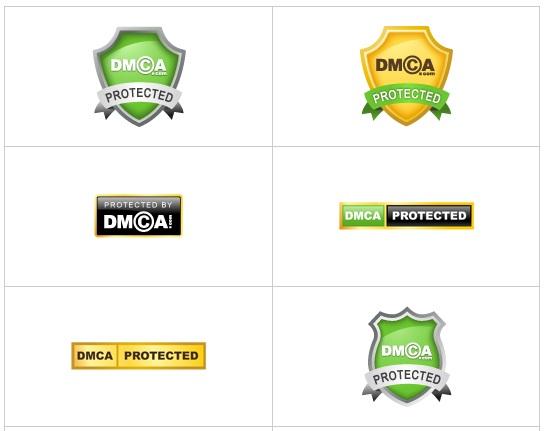 Một số mẫu huy hiệu DMCA