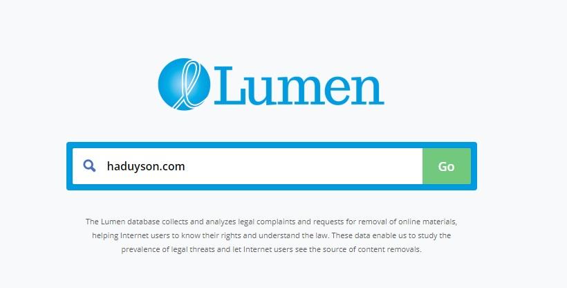 Kiểm tra DMCA tại lumendatabase.org