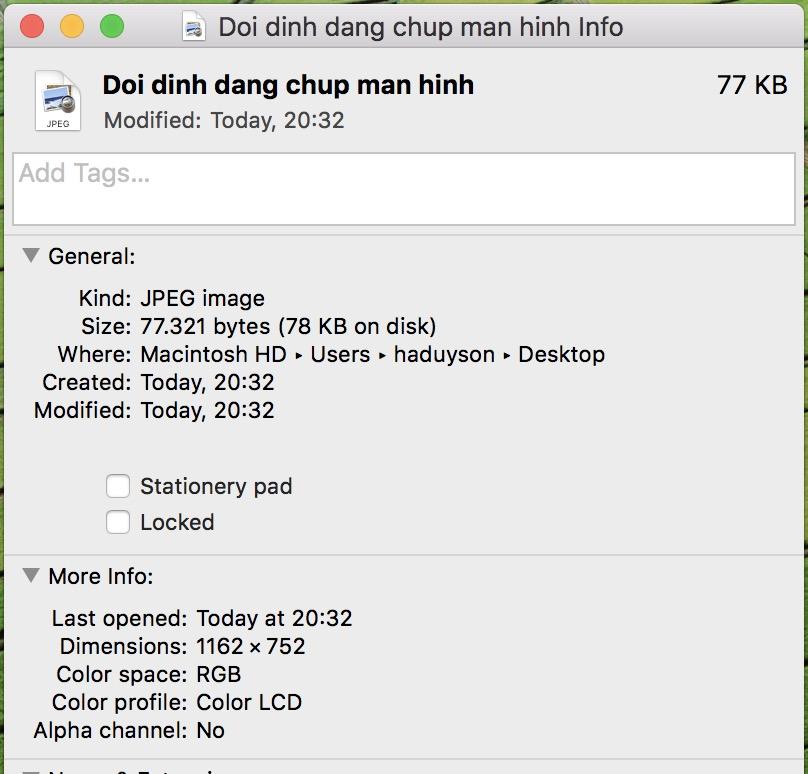 Định dạng JPEG trên Macbook